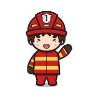 Lindo personaje de bombero agitando la mano ilustración de icono de vector de dibujos animados