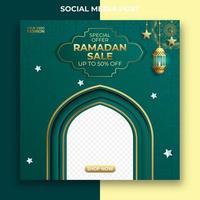 diseño de banner de anuncios de venta de Ramadán. plantilla de publicación de redes sociales de Ramadán editable vector