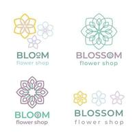 Flower shop logo templates  in trendy linear style. vector