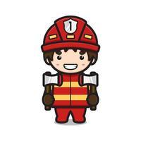 Lindo personaje de bombero sosteniendo dos ejes ilustración de icono de vector de dibujos animados