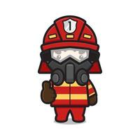 Cute fire fighter character wearing mask and glasses with good pose cartoon vector icon illustration