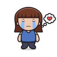 linda chica personaje de dibujos animados llorar se siente triste vector