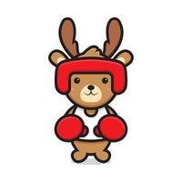 cute deer mascot character playing boxing vector