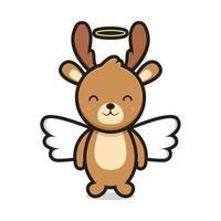 cute angel deer mascot character vector