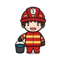 Lindo personaje de bombero sosteniendo un cubo con agua ilustración de icono de vector de dibujos animados