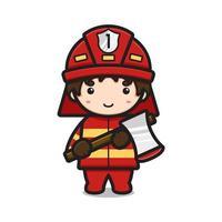 Carácter lindo del bombero que sostiene el ejemplo del icono del vector de la historieta del hacha