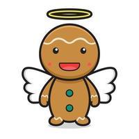 cute angel gingerbread cartoon character vector
