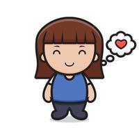 personaje de dibujos animados linda chica se siente feliz vector