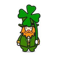 lindo duende personaje del día de san patricio con ilustración de icono de vector de dibujos animados de trébol