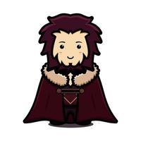 Lindo personaje de mascota rey con capa y dibujos animados vector icono ilustración