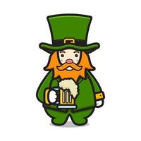 Cute leprechaun saint patrick day character holding beer cartoon vector icon illustration