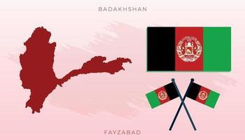 National map of Badakhshan, illustration flag size vector of Badakhshan