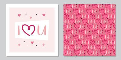 St Valentine's holiday greeting card template. Heart with lettering. Relationship, emotion, passion, love. Seamless pattern, texture, paper, packaging design. vector