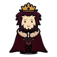 Lindo personaje de mascota rey con capa y corona ilustración de icono de vector de dibujos animados