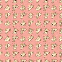 Easter rabbits cute vector doodle hand drawn seamless pattern, texture, background. Easter bunnies, holiday animals jumping. Isolated on pink background. Children packaging design.