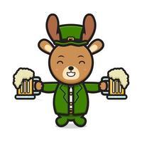 Cute deer leprechaun saint patrick day character holding beer cartoon vector icon illustration