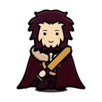 Lindo personaje de mascota rey con capa y sosteniendo espada dorada ilustración de icono de vector de dibujos animados