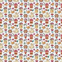 Easter holiday seamless pattern, texture, background. Rabbits, cakes, muffins, herbs, eggs, nest, flowers and hearts. Children packaging design, paper.