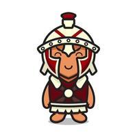 Ilustración de icono de vector de dibujos animados de personaje de mascota de caballero romano lindo