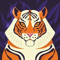 Colorful portrait of beautiful tiger on purple background. Hand drawn wild animal. Big cat. vector