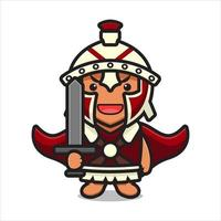 Cute roman knight character holding sword cartoon vector icon illustration
