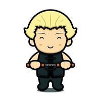 Cute boy martial art mascot character holding chain sticks vector cartoon icon illustration