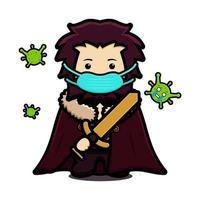Cute king mascot character wearing mask to fight against virus  cartoon vector icon illustration