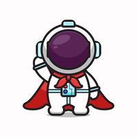 Cute astronaut character super hero cartoon vector icon illustration