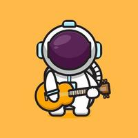 Cute astronaut character playing guitar cartoon vector icon illustration