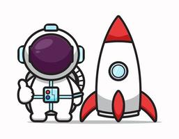 Cute astronaut character with good pose and rocket cartoon vector icon illustration