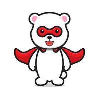 Lindo personaje de mascota de superhéroe oso vector