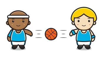 cute two boys playing basketball passing vector