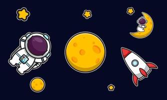 Cute astronaut character with rocket in space cartoon vector icon illustration