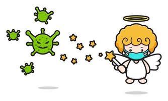 Cute angel mascot character fight against virus cartoon vector icon illustration