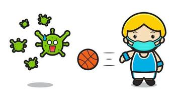 Cute basketball player fight against virus cartoon vector icon illustration