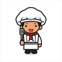 Cute chef character holding spatula cartoon vector icon illustration