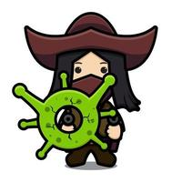 Cute cowboy character fight against corona cartoon vector icon illustration