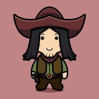 Cute cowboy character with smile face cartoon vector icon illustration