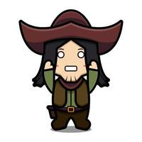 Cute cowboy character with rise hands pose cartoon vector icon illustration