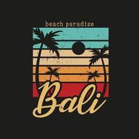 ilustración del paraíso de la playa de bali para el surf vector