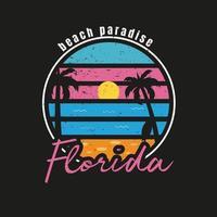 ilustración del paraíso de la playa de florida para el surf vector