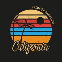 ilustración del paraíso de la playa de california para el surf vector