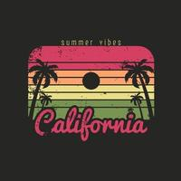 Illustration of california beach summer vibes vector