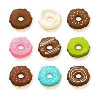 Cute Donuts Set Vector Design