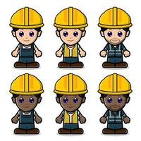 Cute Labor Construction Set Collection vector