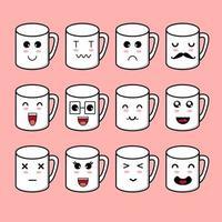 Cute Mug Character Set vector