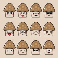 Cute Mushroom Vegetable Mascot Set vector