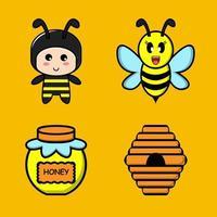 lindo conjunto de mascota de miel de abeja vector