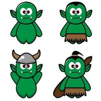 Cute Orc Set and Silhouette vector