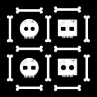 Cute Skull Set Black vector